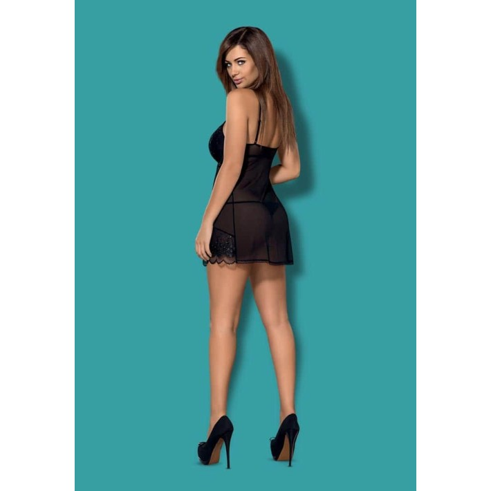 Babydoll Sexy Si Chilotei String, Negru, S