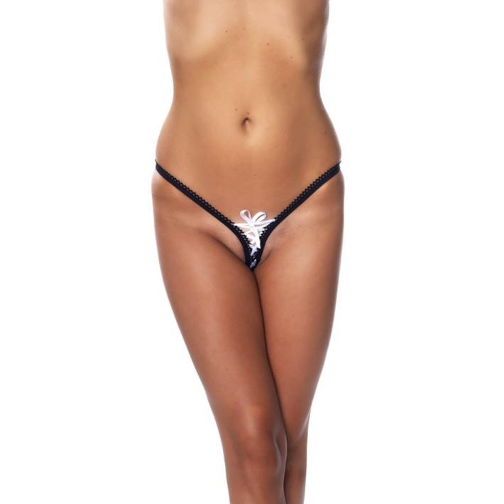 Bikini G-string, Alb Negru, Marime Universala
