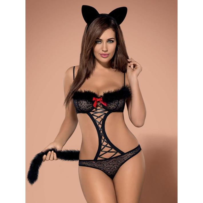 Costum Sexy Gepardina - Negru L/xl, S-m