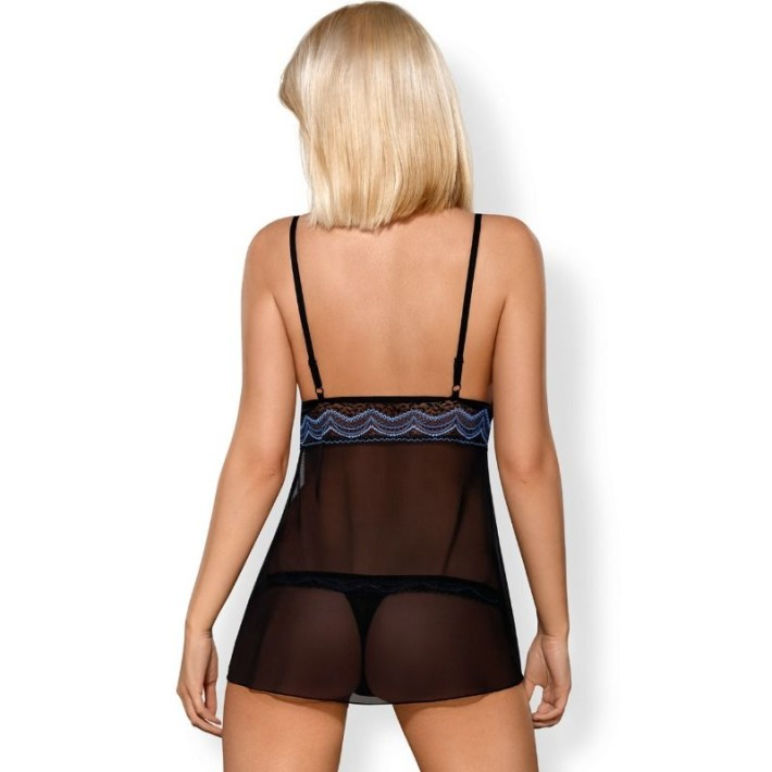 Babydoll Sexy Si Chilotei String, Negru, S/m