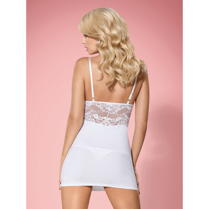 Babydoll Sexy Si Chilotei String, Alb, S/m