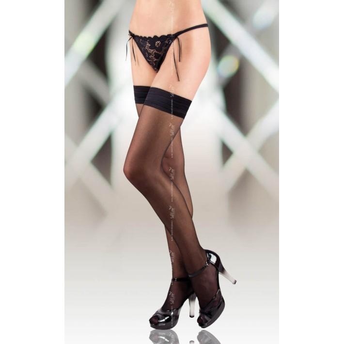 Ciorapi Sexy Cu Banda Elastica Stay-ups, Negru, M
