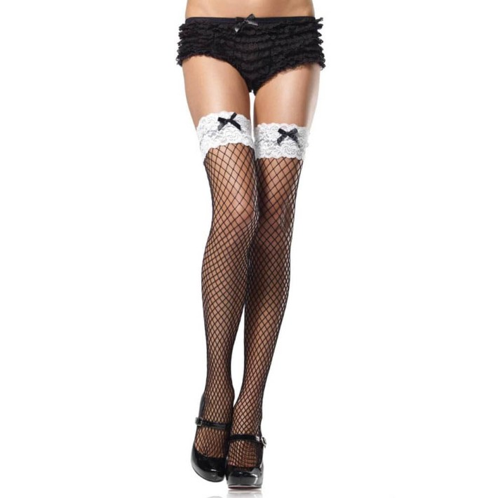 Ciorapi Sexy Tip Plasa Cu Dantela, Negru&alb, Marime Universala
