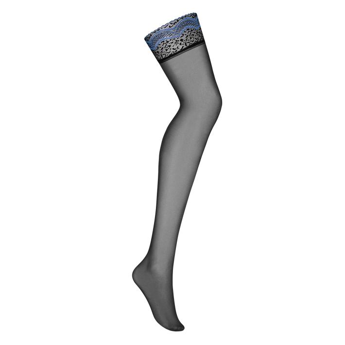 Ciorapi Sexy Cu Dantela, Negru & Albastru, S/m