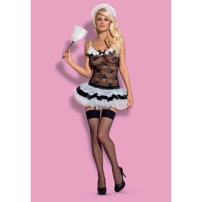 Costum Menajera Sexy, Negru Cu Alb, S/m