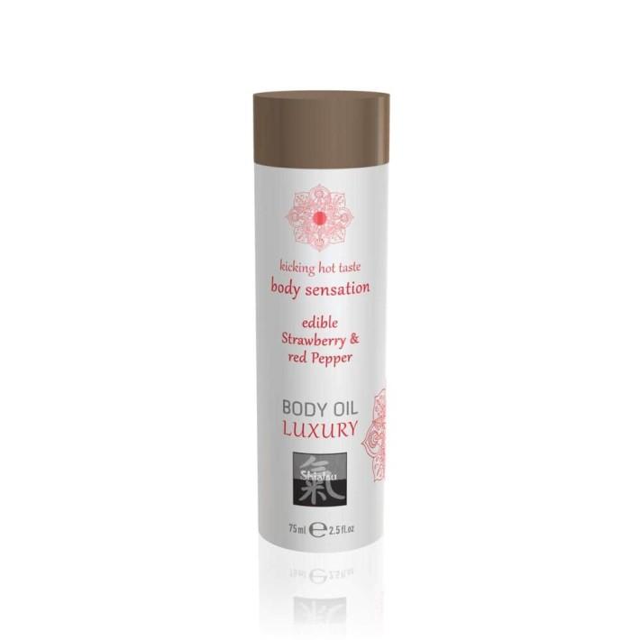 Ulei De Corp Luxuriant Comestibil - Capsuni & Piper Rosu, 75 Ml
