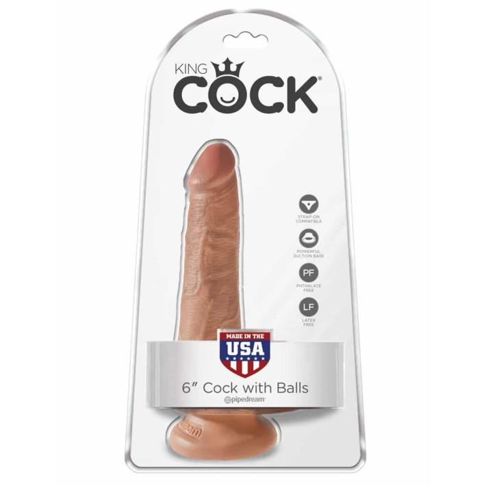 Dildo Clasic Cu Testicule King Cock, Bronz, 15.2 Cm