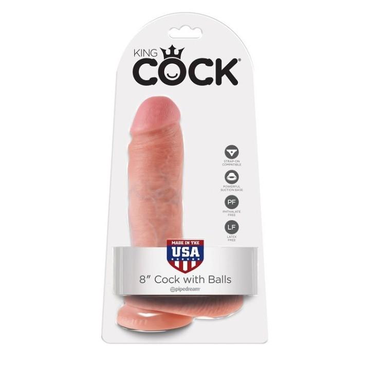 Dildo Realistic Cu Testicule King Cock, Natural, 20.3 Cm