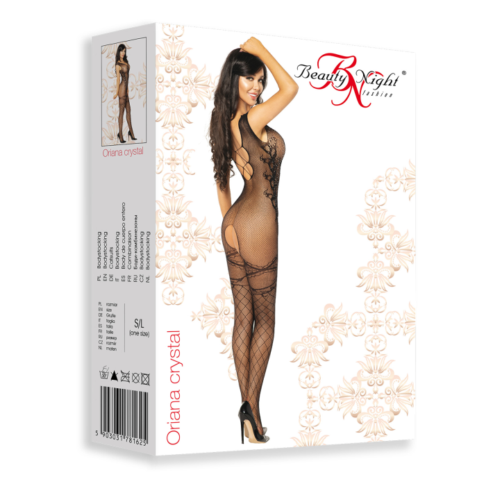 Catsuit / Body Stockings Oriana Crystal - Negru, S/l