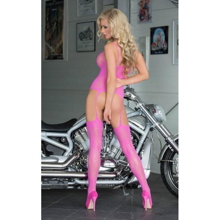 Catsuit Floweret, Neon Pink, Marime Universala