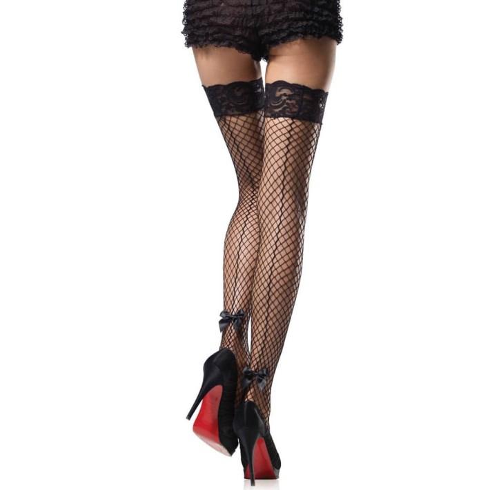 Ciorapi Sexy Tip Plasa Cu Banda De Dantela, Negru, Marime Universala