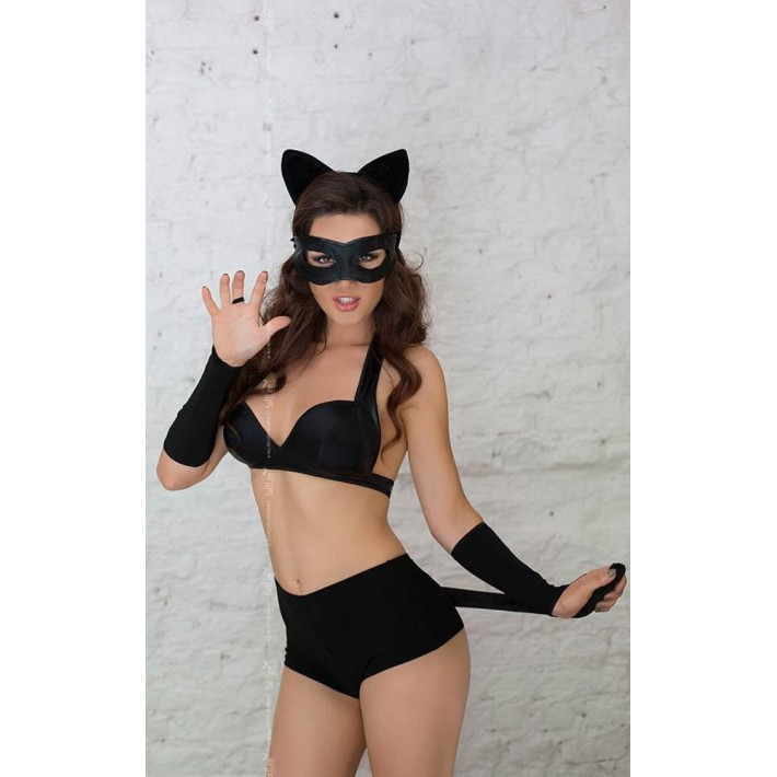Costum Sexy Catwoman Negru, S