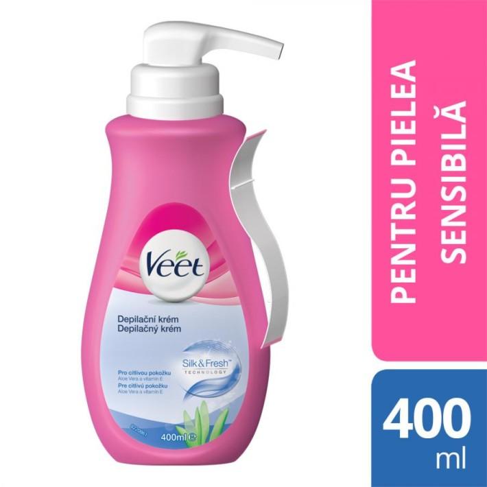 Crema Depilatoare Veet Aloe Vera Si Vitamina E Pentru Piele Sensibila, 400 Ml