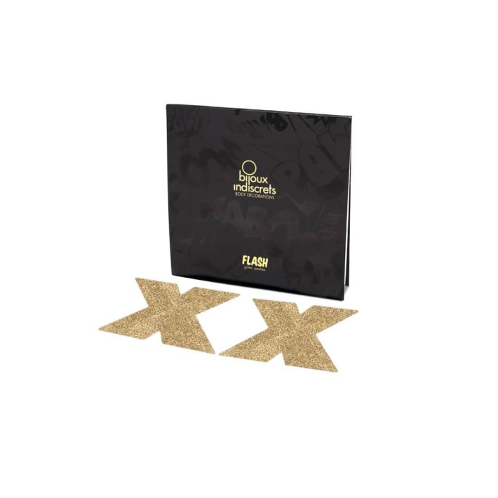 Bijuterii Intime Adezive Flash Cross - Auriu