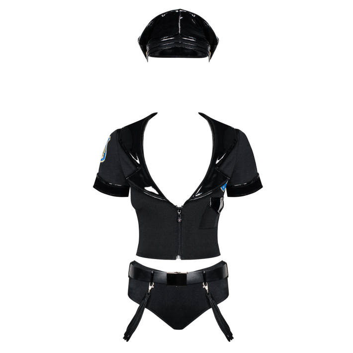 Costum Sexy Police Set - Negru S-m