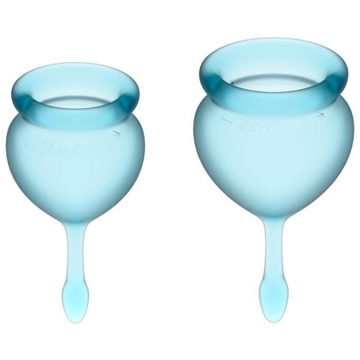 Cupe Menstruale Feel Good, Albastru Deschis, 15 Si 20 Ml