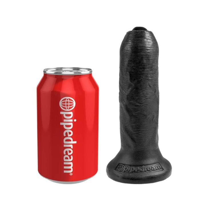 Dildo Realistic King Cock Necircumcis, Negru, 15 Cm