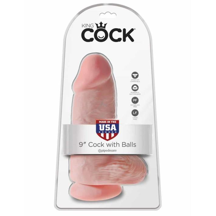 Dildo Realistic Cu Ventuza King Cock Chubby, Natural, 24 Cm