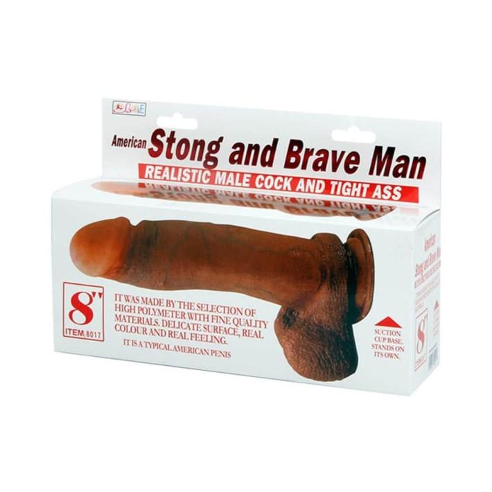 Vibrator Cu Ventuza American Strong And Brave Man, 20.5 Cm