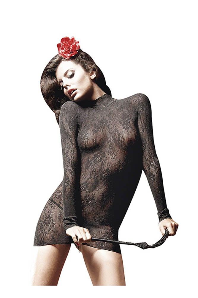 Rochita Sexy Din Dantela All Over Negru Marime Universala